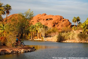 A bike rider at Papago Park, Phoenix, Arizona. (model released)